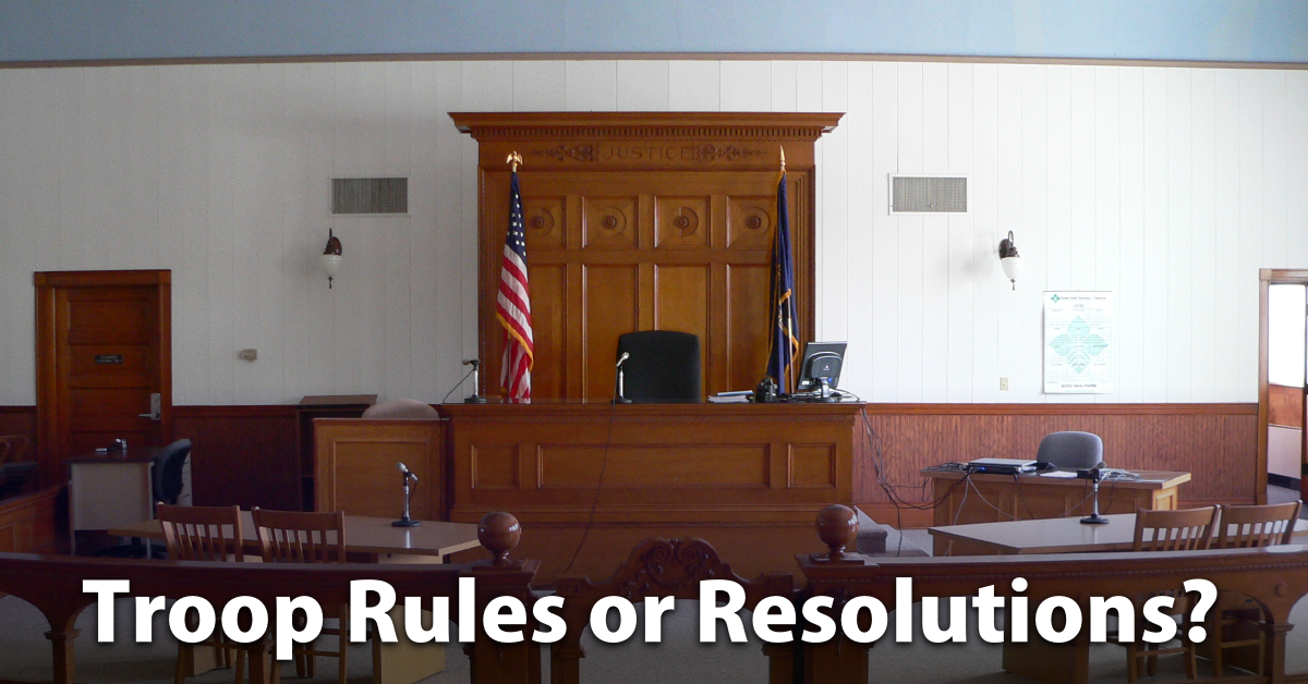 troop rules or resolutions